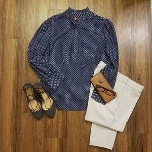 Navy, white polka dot long sleeve pull over blouse